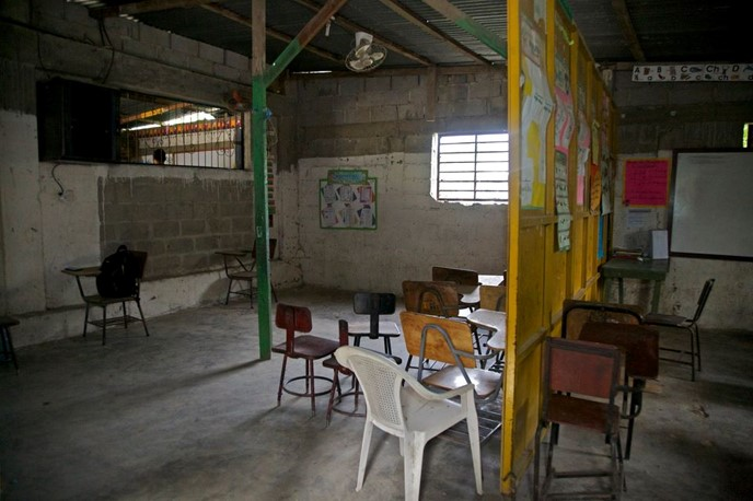 This prior classroom was overcrowded, dark, and dilapidated. Photo via FEIH