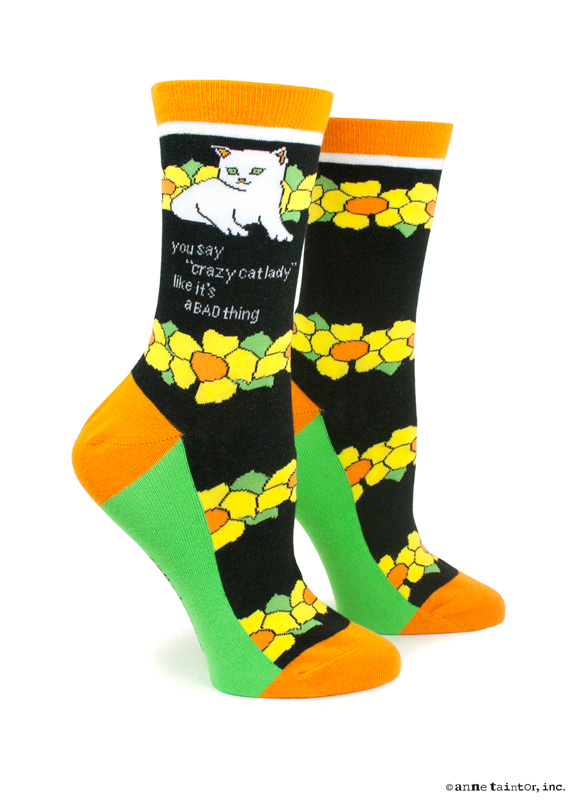 """You Say """"Crazy Cat Lady"""" Like It's a Bad Thing Socks by Ann Taintor, $9 @amazon.com"""