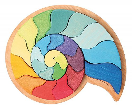 Grimm's Large Ammonite Snail Shell Figurative Puzzle of Creative Wooden Blocks (4x4 Size) by Grimm's Spiel and Holz Design, $99 @amazon.com (If you choose not to be an amazon shopper, you can buy the smaller size of this on oompa.com)