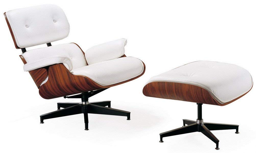 Mid Century Modern Classic Rosewood Plywood Lounge Chair & Ottoman With White Premium High Grade PU Vegan Eames Style Replica, $1K @amazon.com