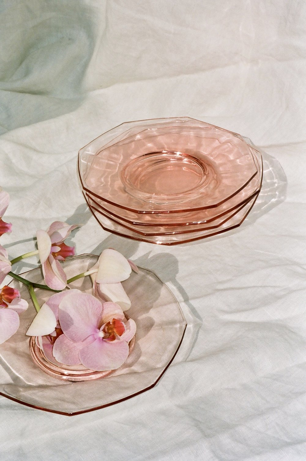Vintage Rose Pink Glass Plates Set of 5, @shopthebreak.com