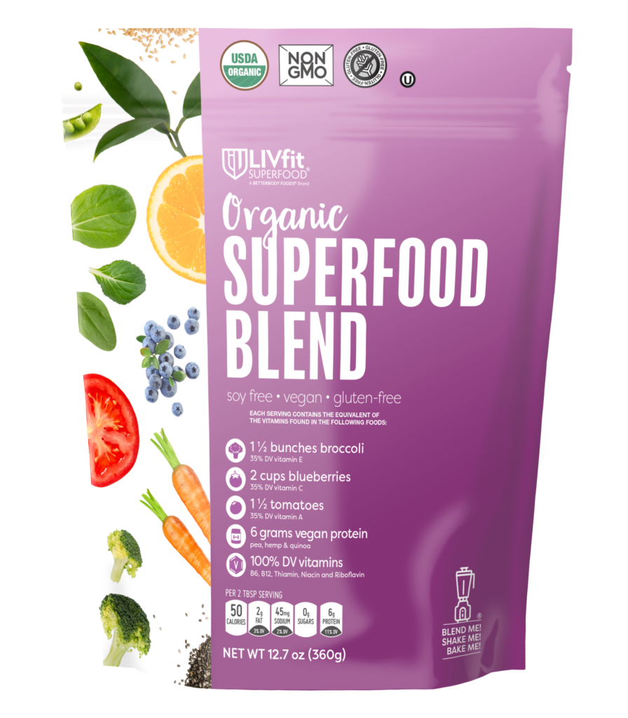 Organic LIVfit Superfood Blend with Protein, $16 @betterbodyfoods.com