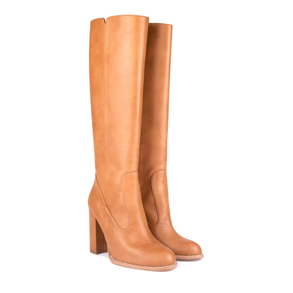 Medusa B Camel Block Heel Knee High Vegan Boots, $270 @beyond-skin.com