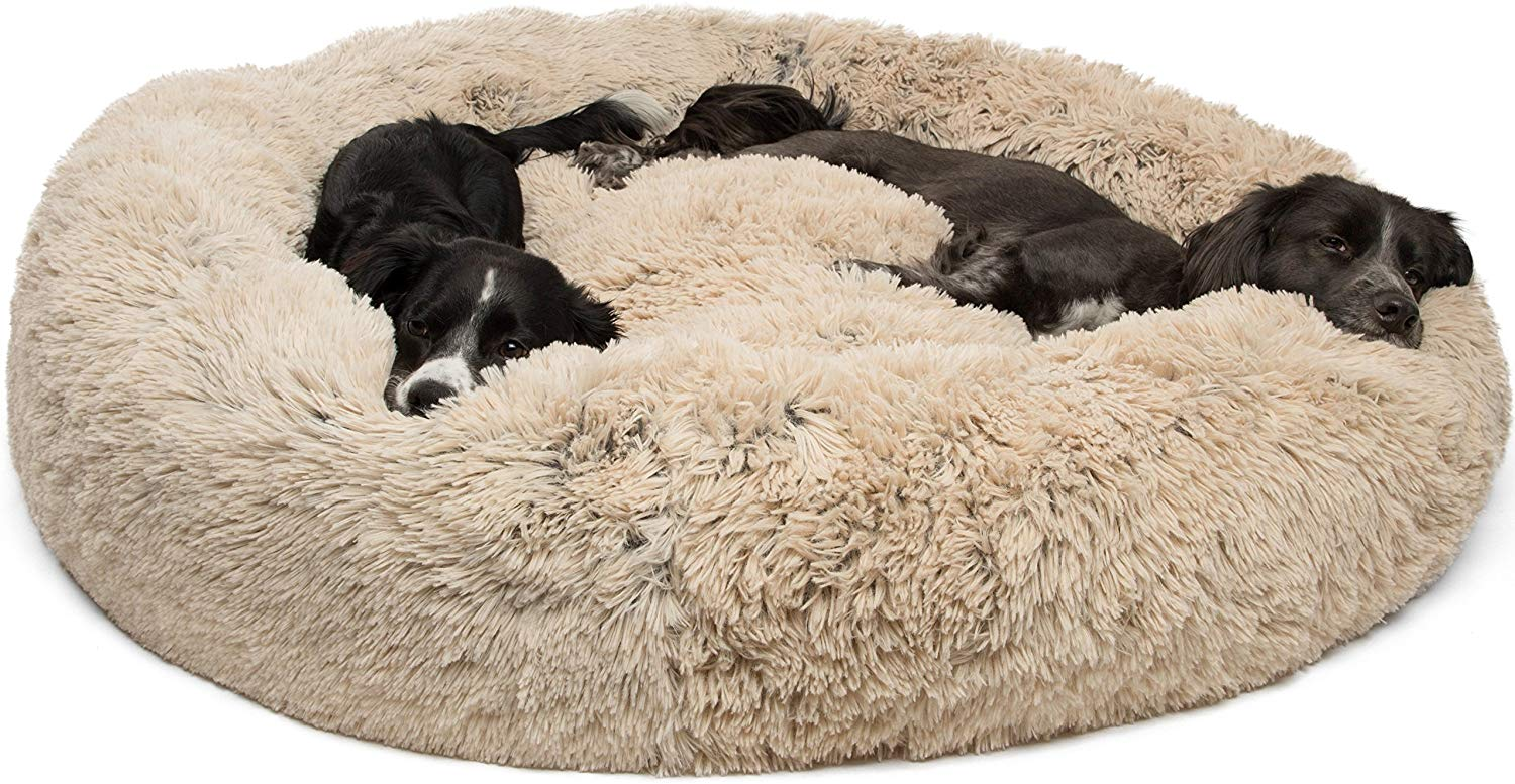 st Friends by Sheri Calming Shag Vegan Fur Donut Cuddler, $129 @amazon