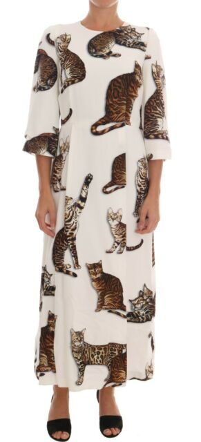 Dolce & Gabbana White Brown Cat Print Viscose Long Dress, $930@amazon.com