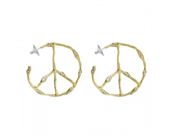 Waxing Poetic Ursa Peace Brass, Sterling Silver & Swarovski Crystals Hoop Peace Earrings, $154 @waxingpoetic.com