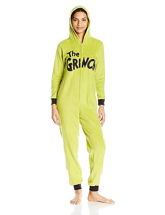 Dr.Seuss Women's Grinch Hoodie Union Suit, $25 @amazon.com