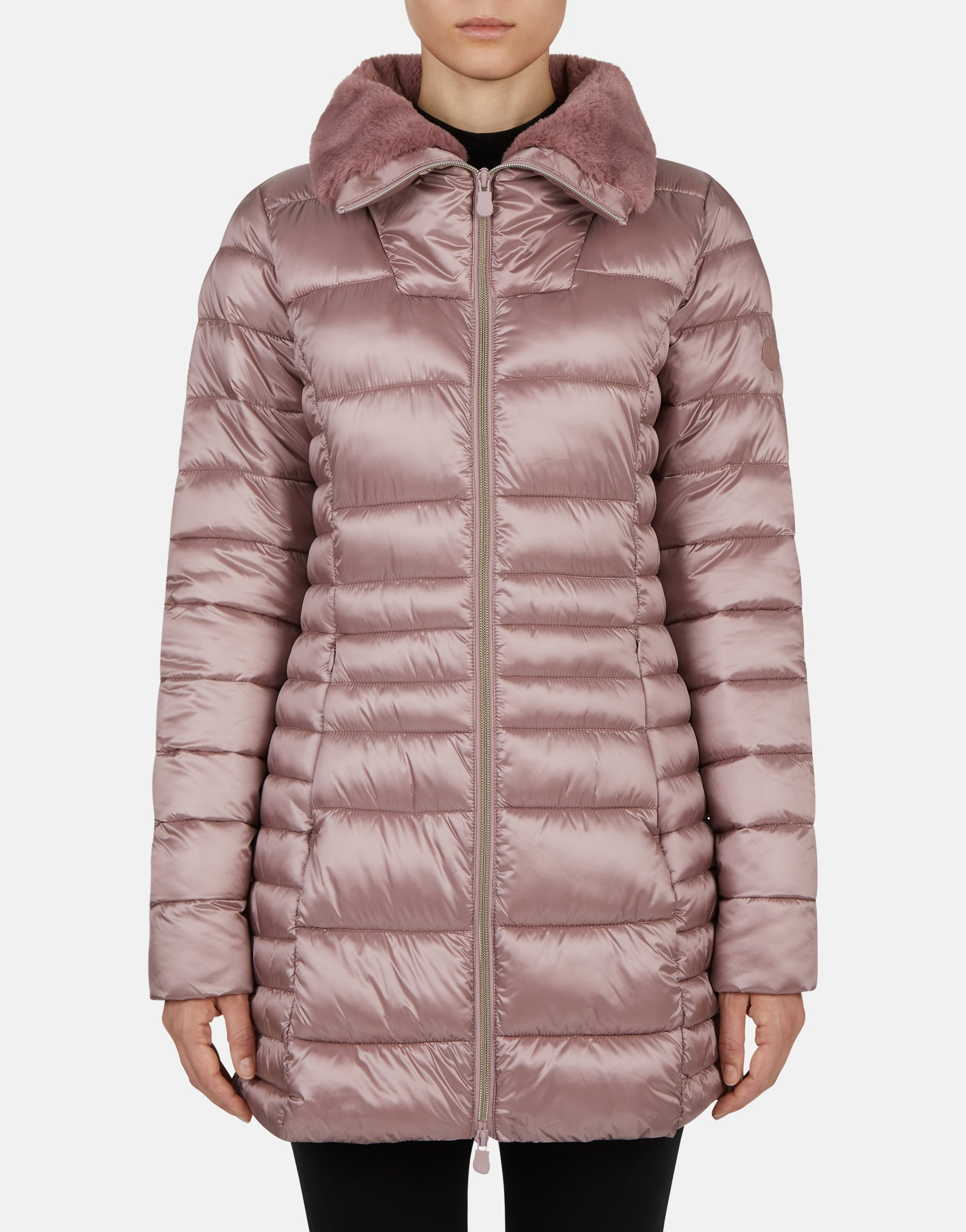 SAVE THE DUCK WOMEN'S IRIS WINTER STAND UP COLLAR COAT WITH FAUX FUR LINING, $248.00 @savetheduckusa.com