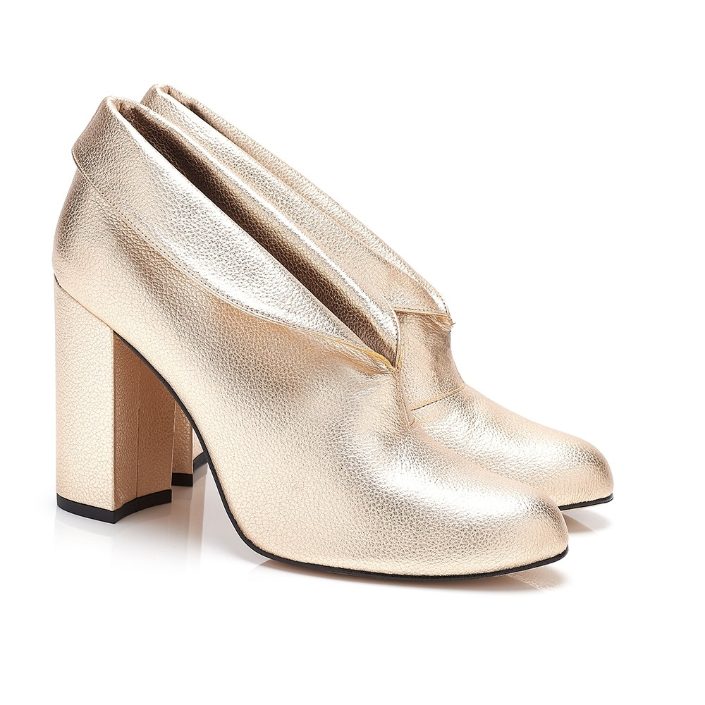 ELECTRA GOLD FAUX LEATHER CUFF ANKLE BOOTS, $390 @beyond-skin.com