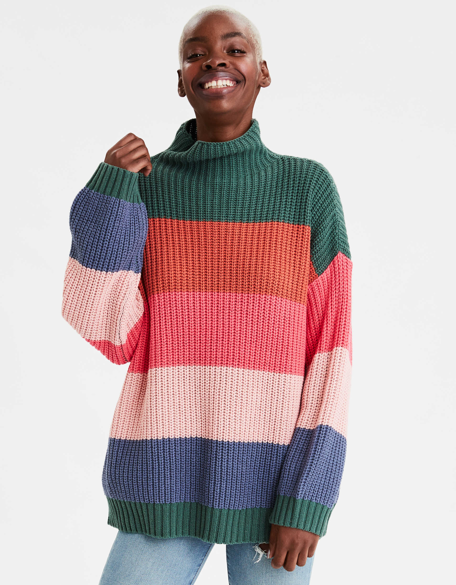 AE Mock Neck Oversized Sweater, WAS $49.95 - is now $14.99 - 69% OFF @ae.com