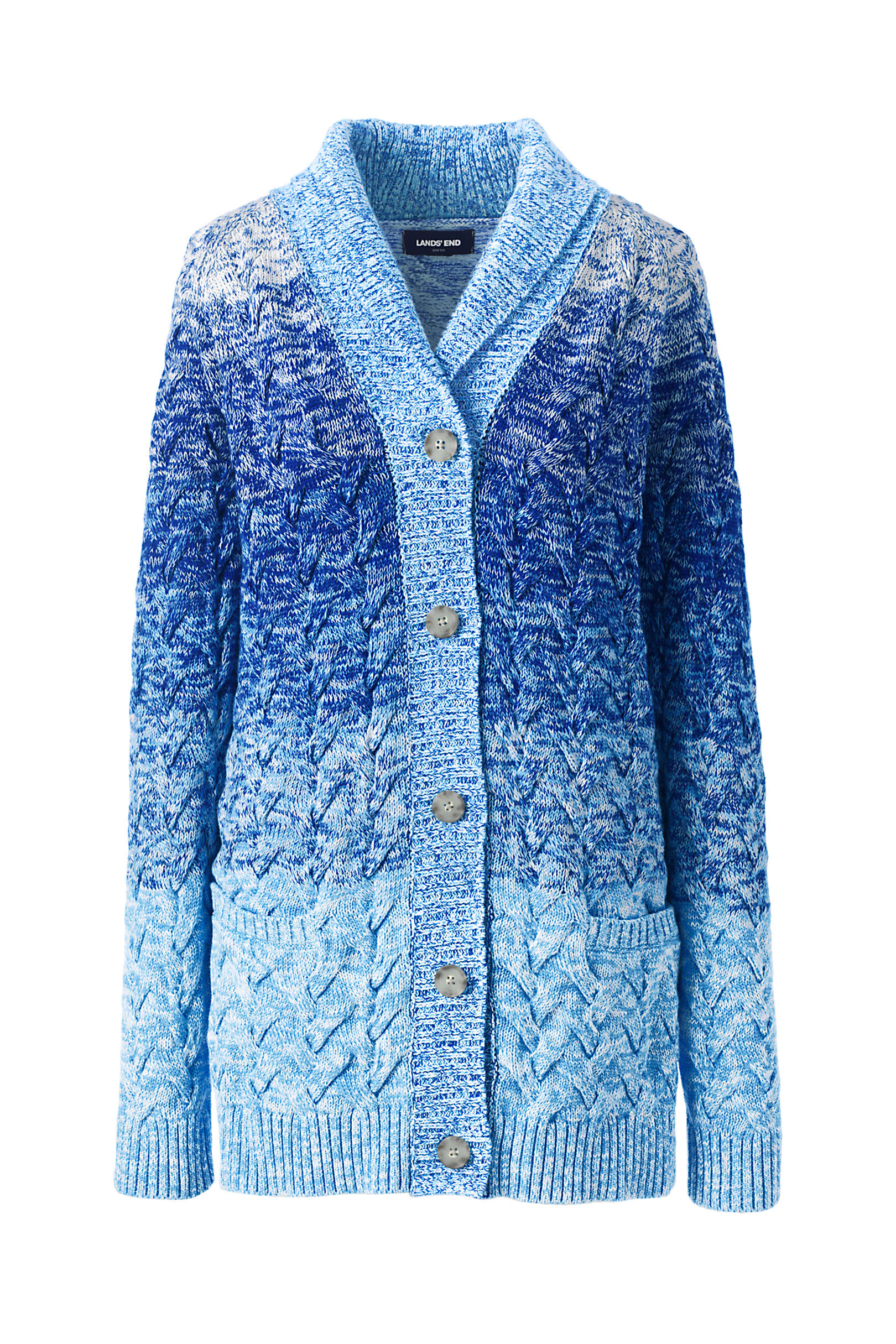 Women's Cotton Cable Drifter Shawl Cardigan Sweater, WAS $89.95, ON SALE FOR $44.97 @Landsend.com