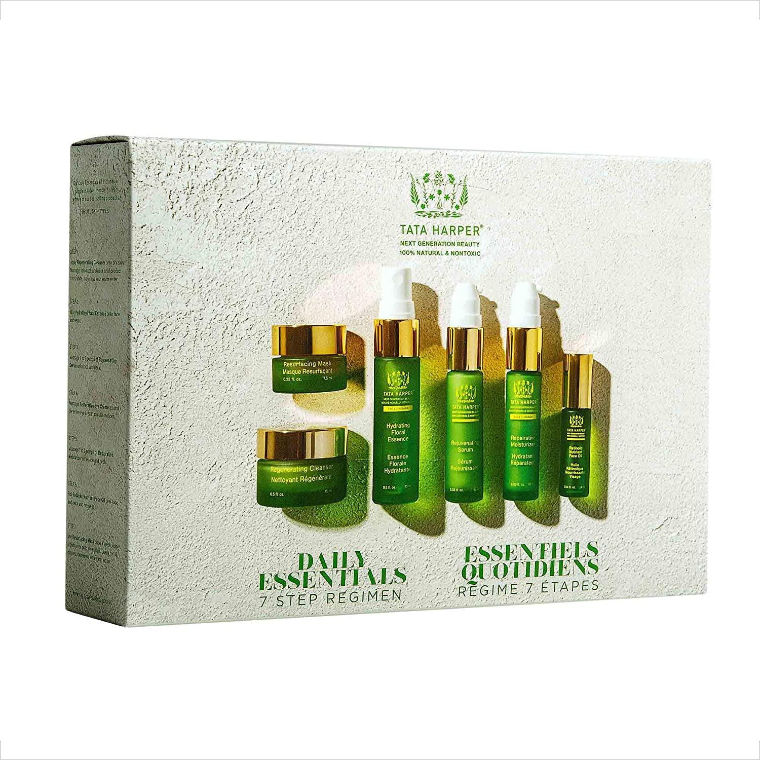 Tata Harper Daily Essentials Set, 6-Step Skincare Starter Regimen, 100% Natural, Made Fresh in Vermont, $75 @amazon.com