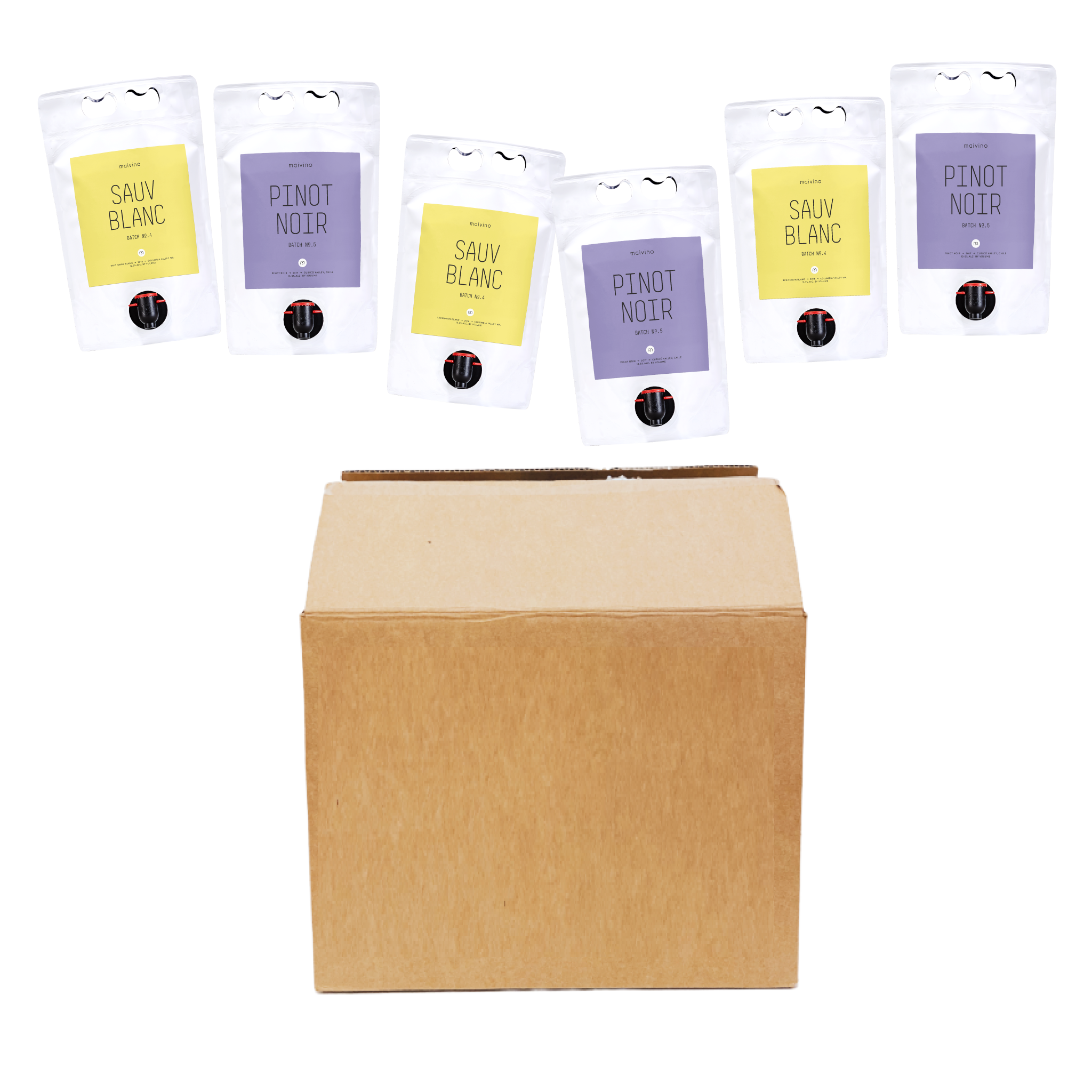 Mixed Six Pack, $139.00 per pack (6 pouches). Gift, gather and imbibe. This pack has 6 pouches, the equivalent of 12 bottles inside. The best part - it keeps fresh for 30 days after opening! @maivino.com