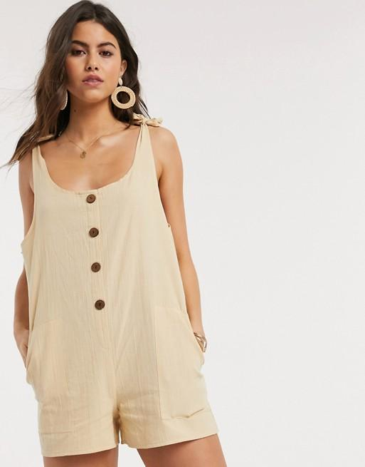 ASOS DESIGN button front overall romper in stone, $28 @asos.com
