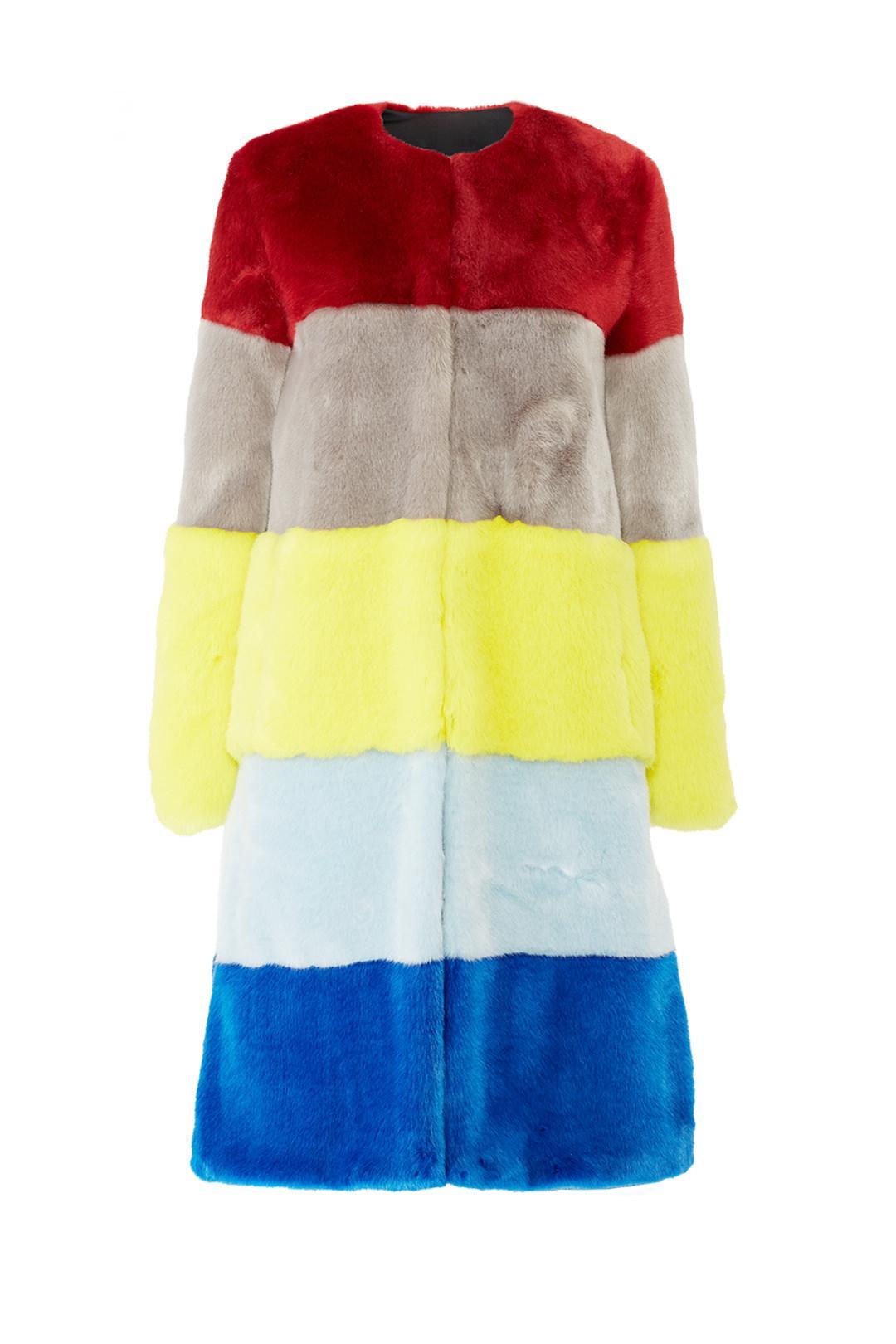 Osman Ona Faux Fur Patchwork Coat, $589 @thredup.com
