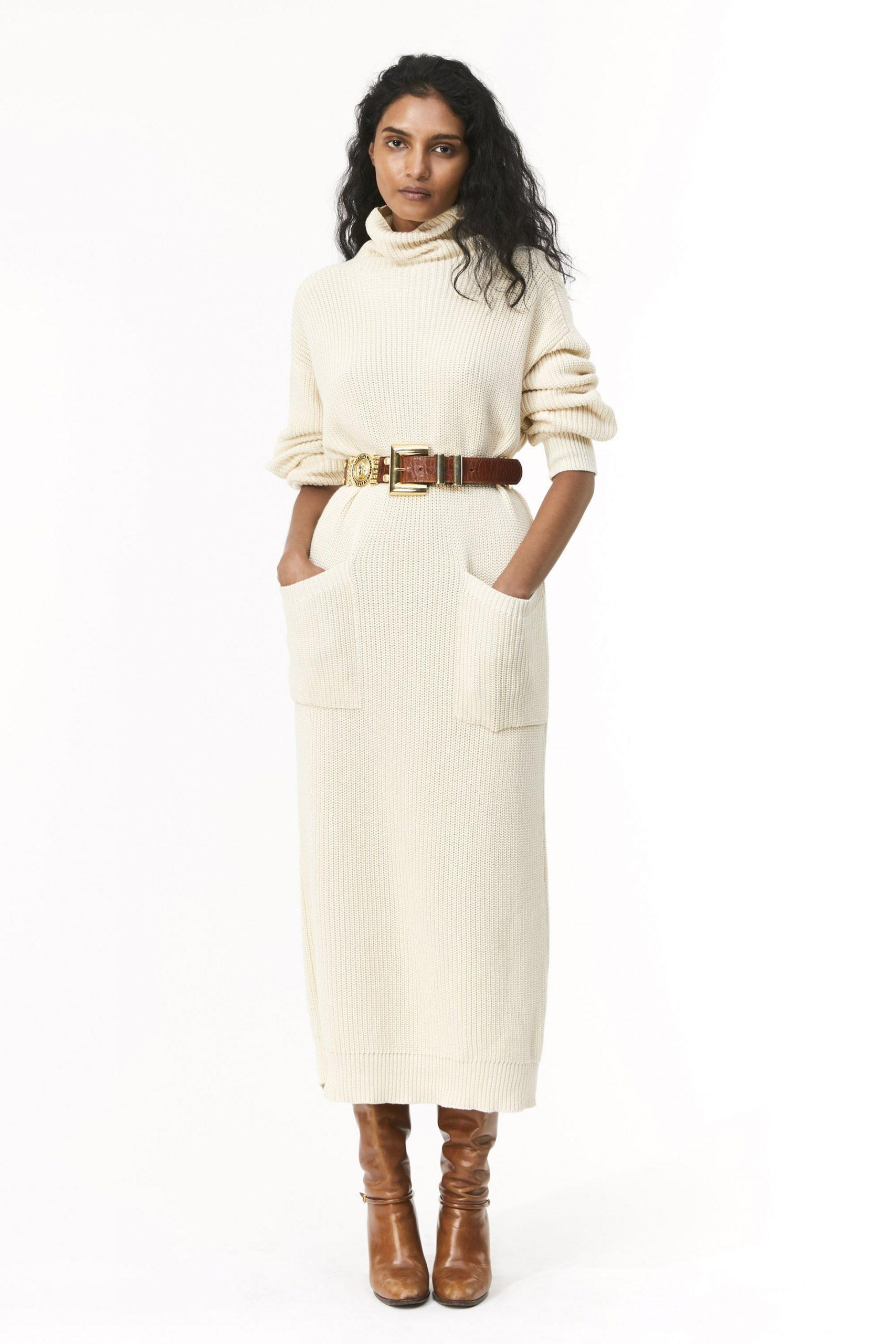 Elsa Sweater Dress, $395 @MaraHoffman.com