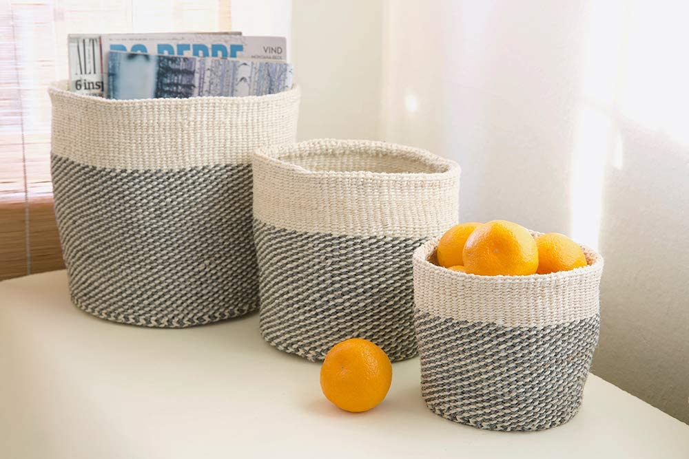 Mandinka- Nene 3 Piece Basket Set-Gray and Cream, $120 @amazon.com