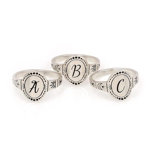 Signet Initial Ring A-M, $ @rainandbow.com