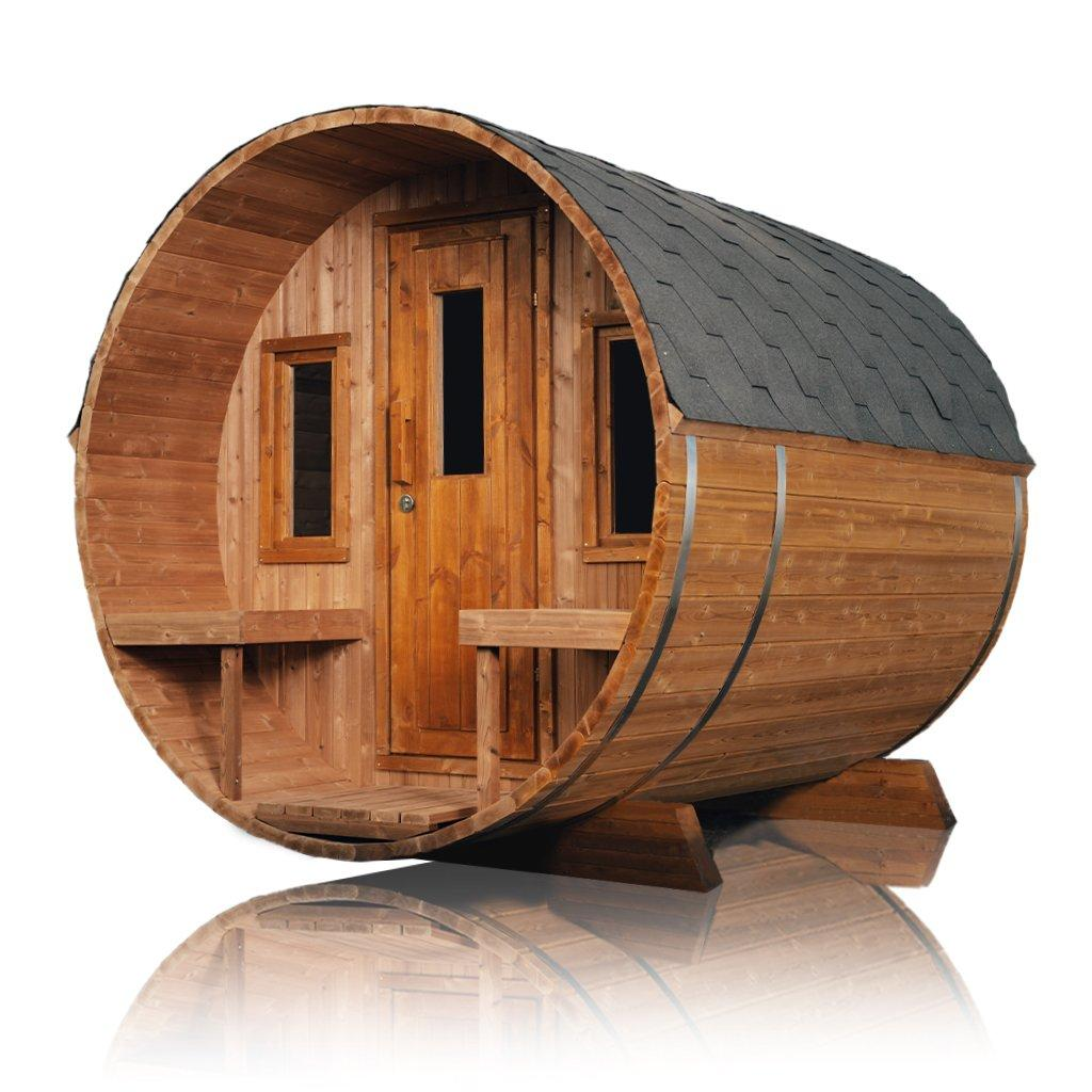 Scandinavian Outdoor Barrel Sauna (7x8), $7,499.00 @northernsaunas.com