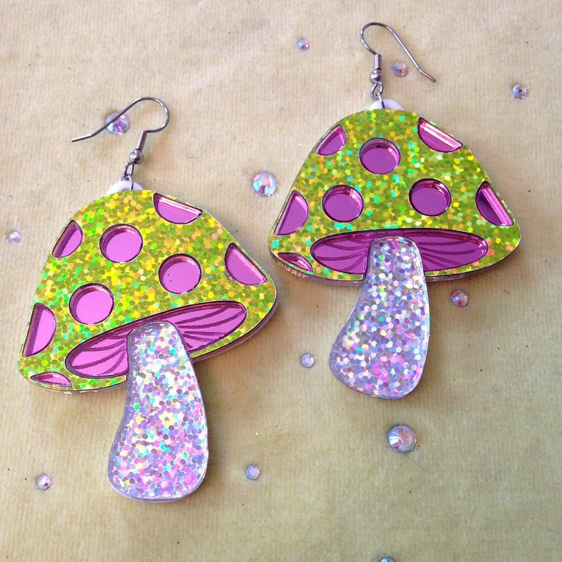 Magical Glitter Mushroom Earrings, $28 @etsy.com