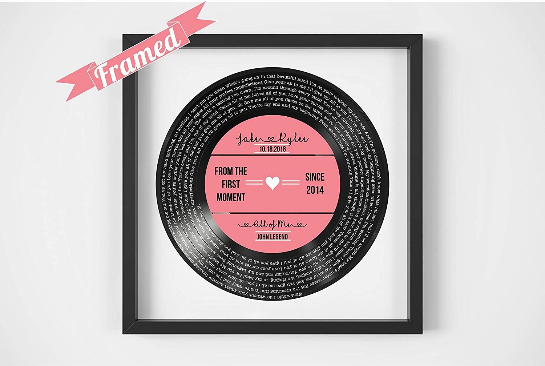 Personalized Vinyl Record Song Lyrics Framed, $50 @amazon.com