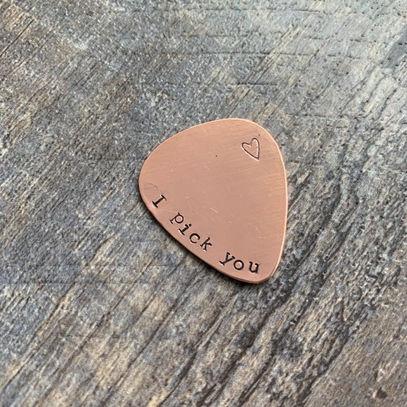 LaurenElaineDesigns I Pick You Hand Stamped Guitar Pick, $10 @etsty.com
