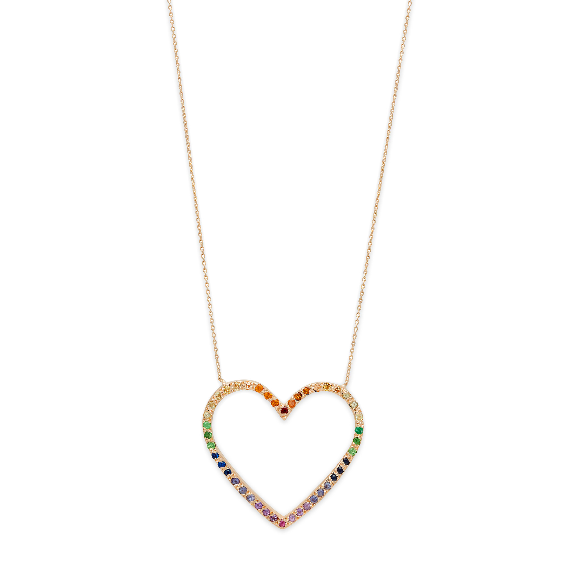 Yellow Gold Large Rainbow Open Heart Necklace, $1477 @elisasolomon.com (mention GGA for 10% off!)
