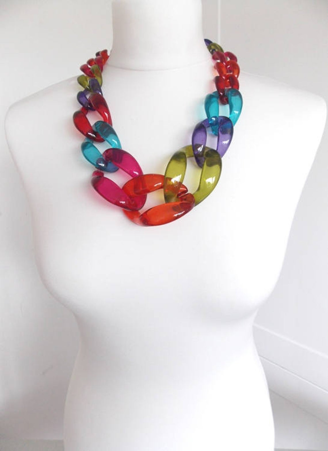 Chunky Multi-Coloured Chain Link Statement Necklace, $48 @etsy.com